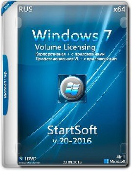 Windows 7 SP1 x64 Volume Licensing StartSoft 20-2016 [Ru]