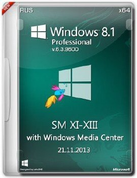 Microsoft Windows 8.1 Pro with WMC 6.3.9600 х64 RU SM XI-XIII