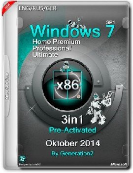Windows 7 SP1 x86 3in1 Pre-Activated Oktober 2014 by Generation2