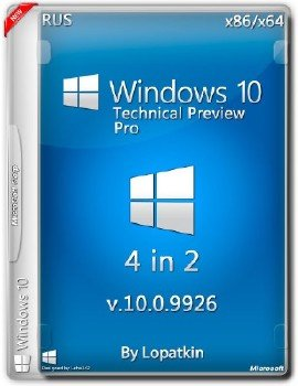 Windows Technical Preview (Pro) 10.0.9926 x86-х64 RU-RU 4x1