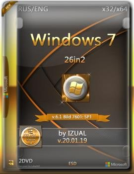 Windows 7 SP1 RUS-ENG x86/х64 -26in2- BY IZUAL [2019]